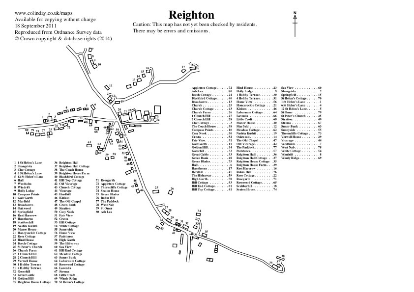 Reighton Village Map