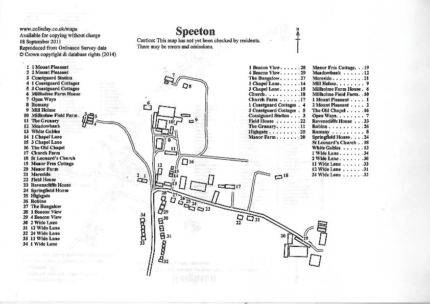 Speeton Map of Houses